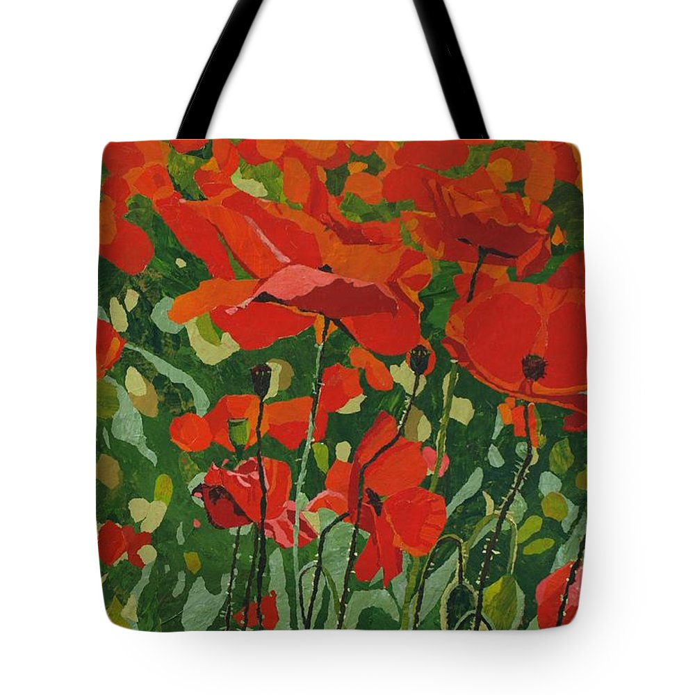 Floral Tote Bag featuring the painting Poppies by Leah Tomaino