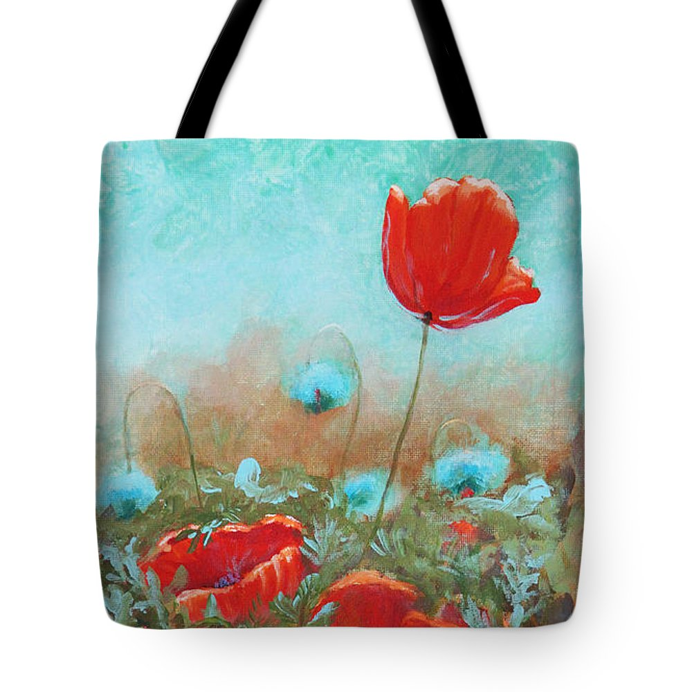 Toni Wolf Tote Bag featuring the painting Poppies by Toni Wolf