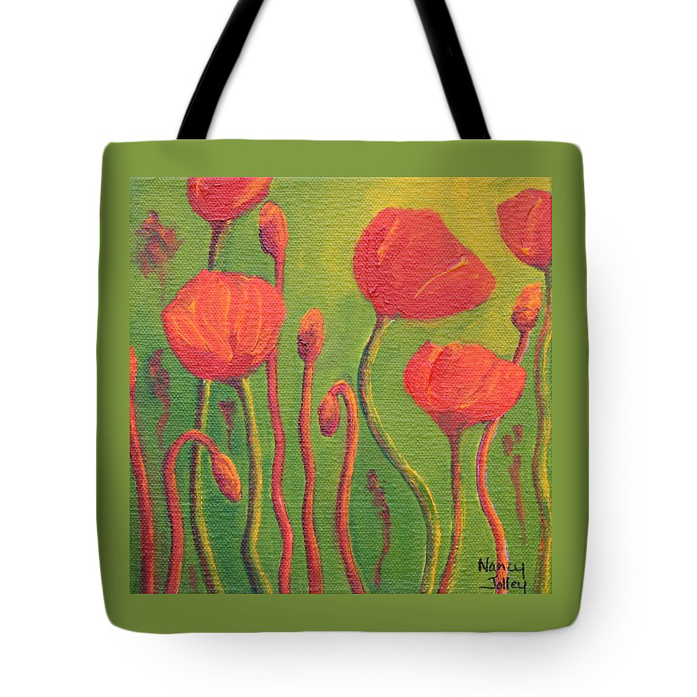 Poppy Tote Bag featuring the painting Poppy Field by Nancy Jolley