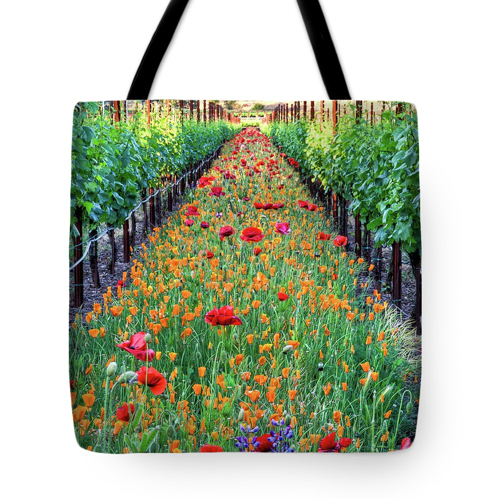 Tranquility Tote Bag featuring the photograph Poppy Lined Vineyard by Rmb Images / Photography By Robert Bowman