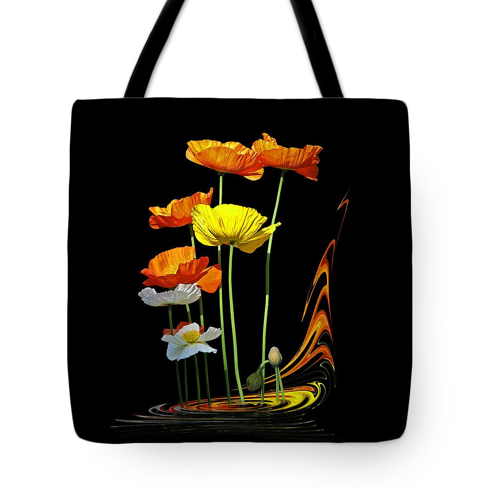 Poppies Tote Bag featuring the photograph Poppy Pirouette Vertical by Gill Billington