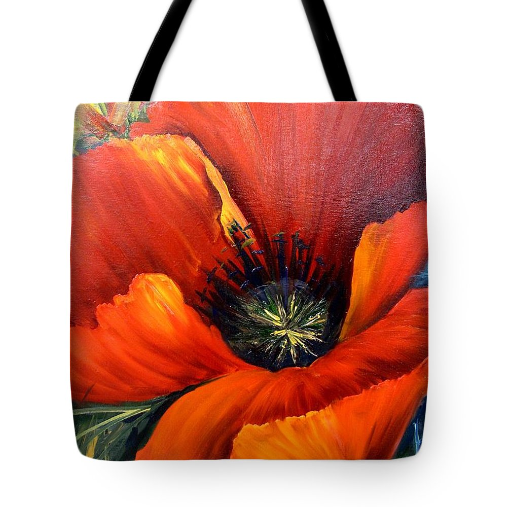 Poppy Tote Bag featuring the painting Poppy Red by Barbara Haviland