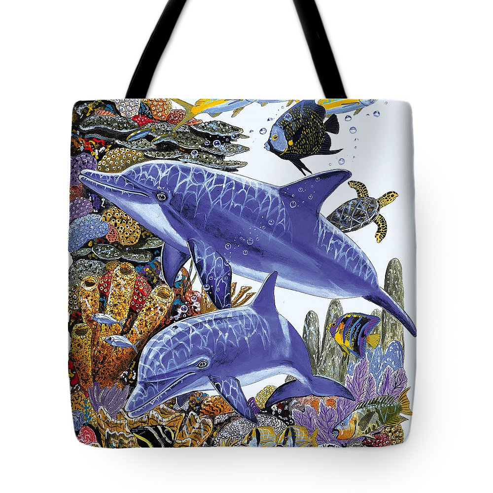 Porpoise Tote Bag featuring the painting Porpoise Reef by Carey Chen