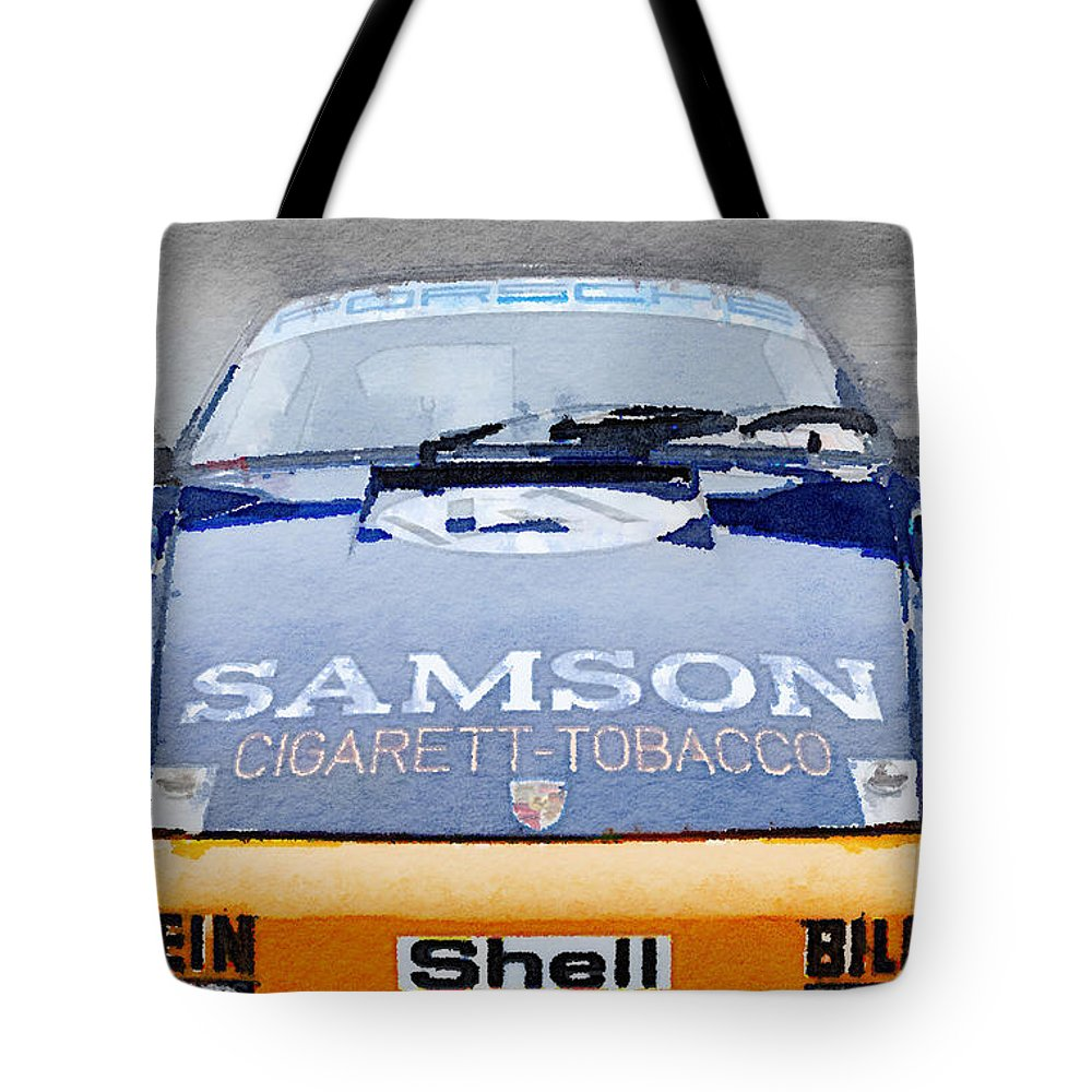Porsche 911 Tote Bag featuring the painting Porsche 911 Front End Watercolor by Naxart Studio