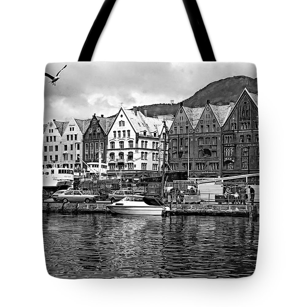 Alesund Tote Bag featuring the photograph Port Life Bw by Steve Harrington