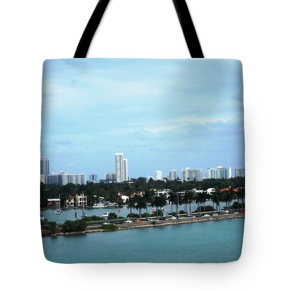 Disney Magic Cruise Ship View Tote Bag featuring the photograph Port Of Miami by Teresa Ruiz