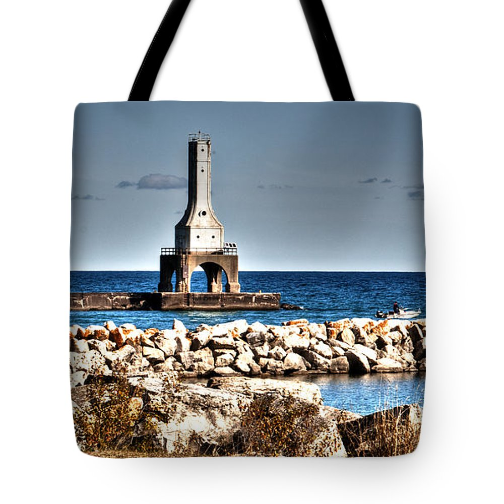 Outdoors Tote Bag featuring the photograph Port Washington Breakwater Light by Deborah Klubertanz