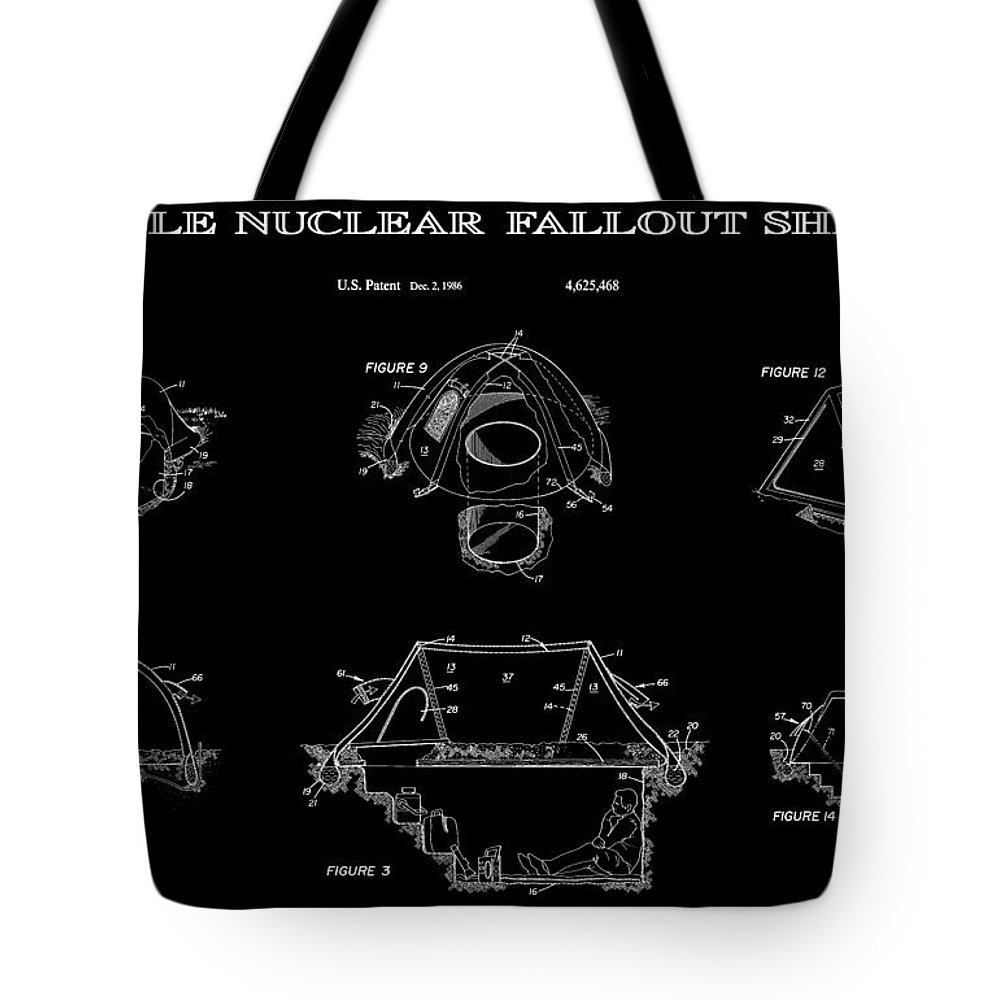Nuclear Tote Bag featuring the digital art Portable Nuclear Fallout Shelters 2 Patent Art 1986 by Daniel Hagerman