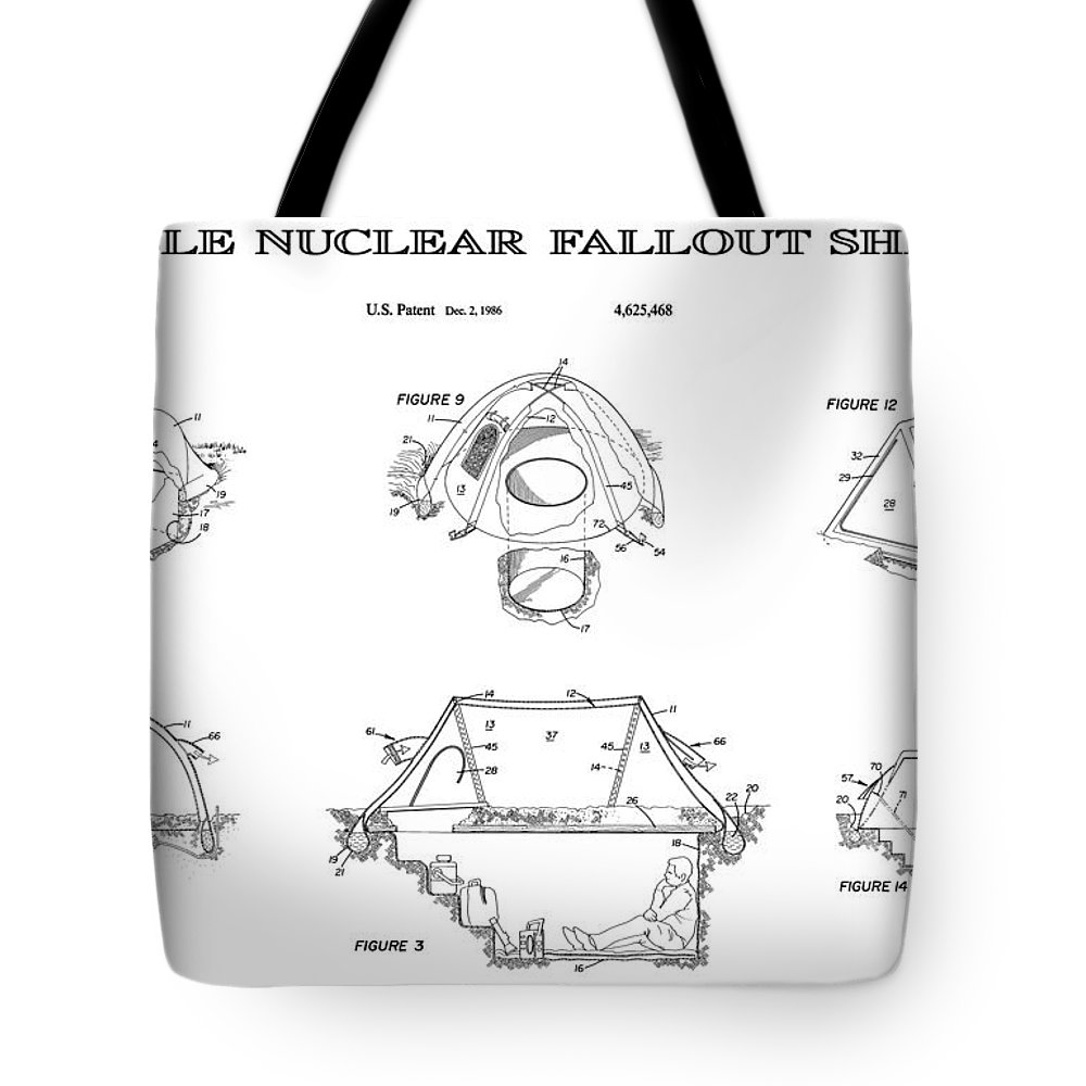 Nuclear Tote Bag featuring the digital art Portable Nuclear Fallout Shelters 4 Patent Art 1986 by Daniel Hagerman