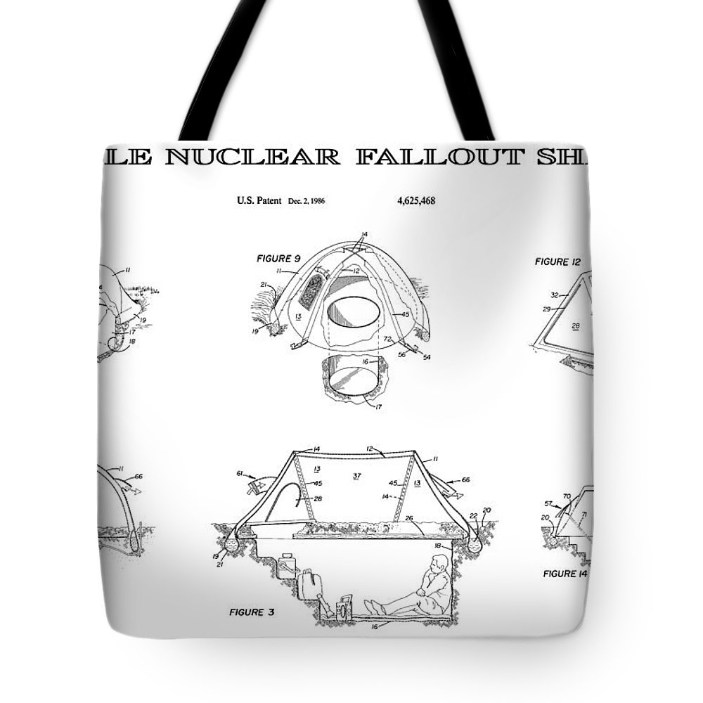 Nuclear Tote Bag featuring the digital art Portable Nuclear Fallout Shelters3 Patent Art 1986 by Daniel Hagerman