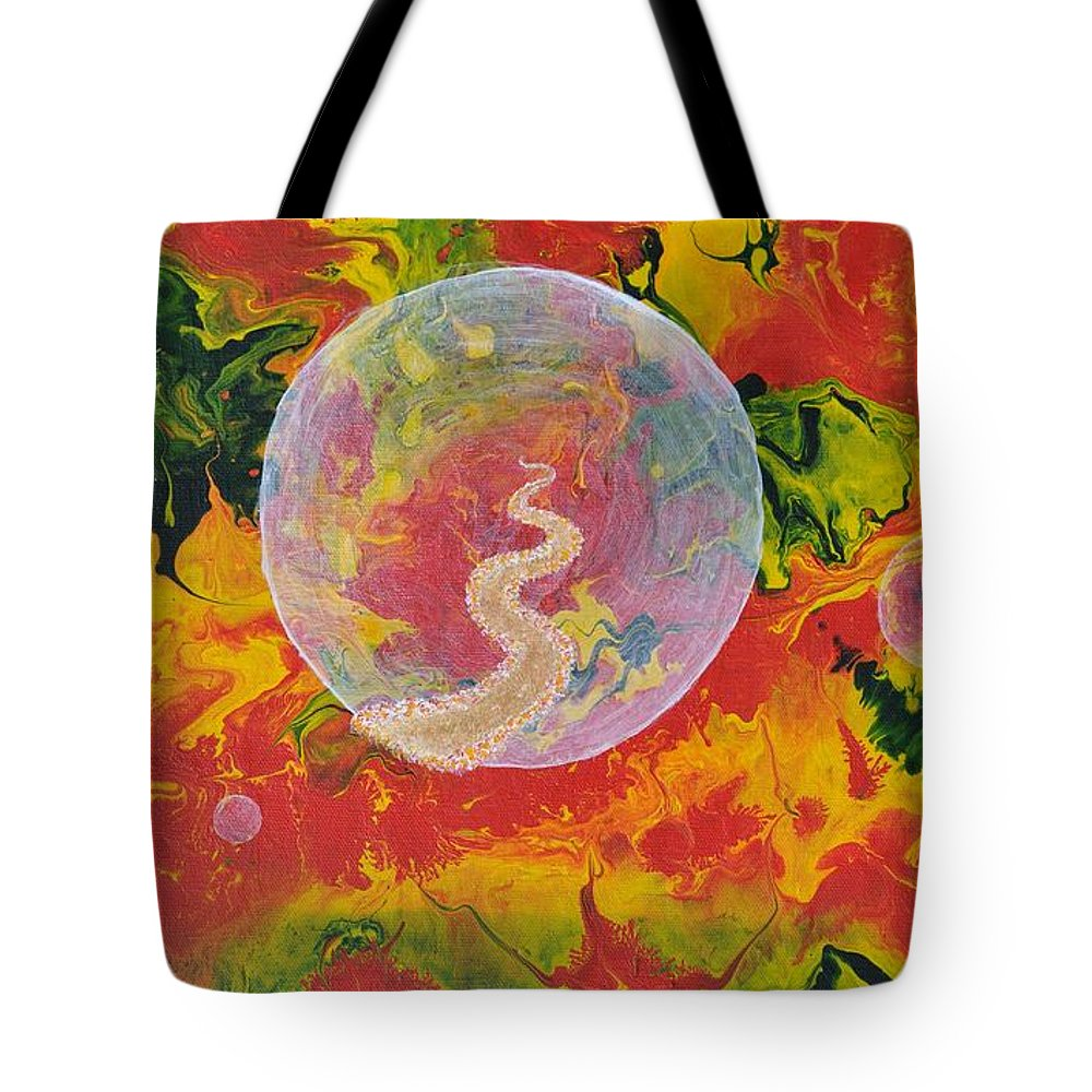 Abstract Tote Bag featuring the painting Portals And Dimensions by Georgeta Blanaru