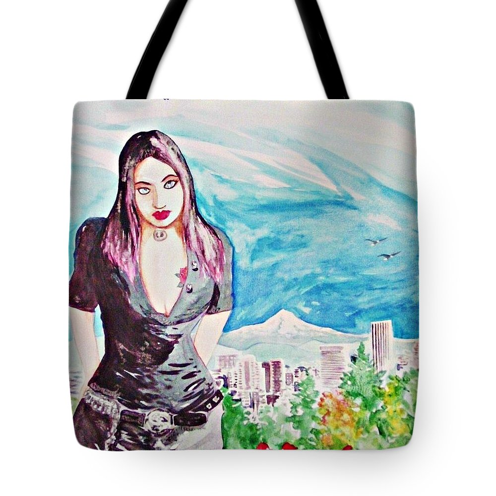 Portland Oregon Woman Mt. Hood Travel Roses Cityscape Tote Bag featuring the painting Portland 2011 by Ken Higgins