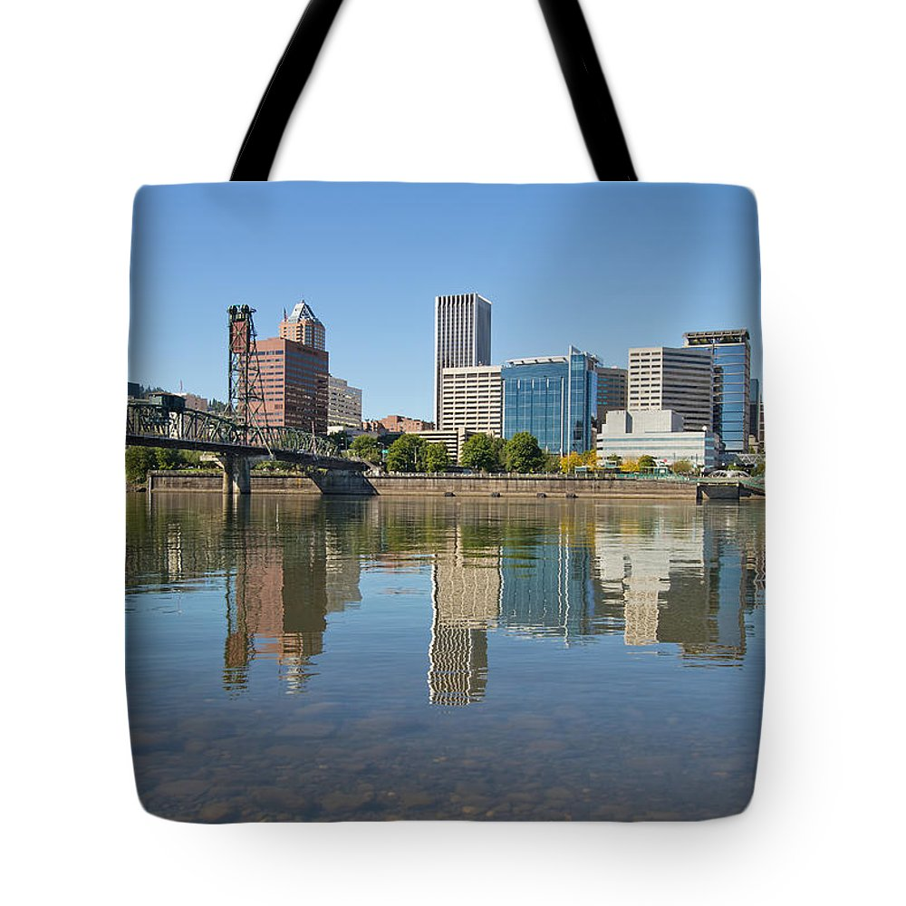 Portland Tote Bag featuring the photograph Portland Downtown Skyline And Hawthorne Bridge by Jit Lim