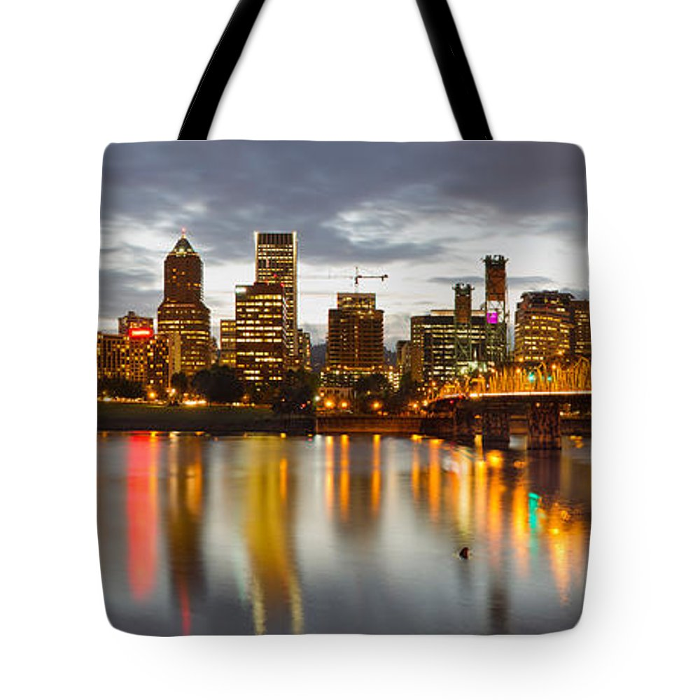 Portland Tote Bag featuring the photograph Portland Downtown Skyline At Sunset by Jit Lim