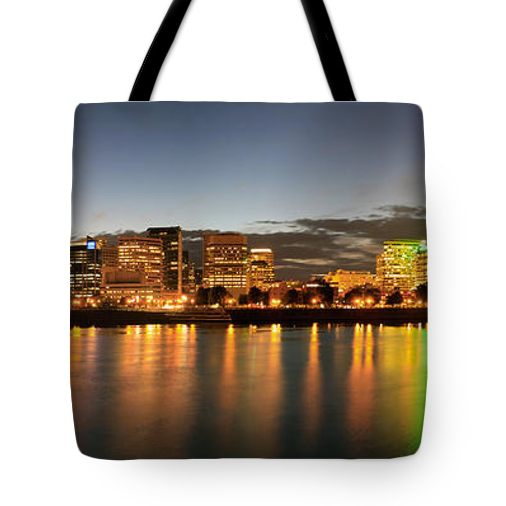 Portland Tote Bag featuring the photograph Portland Downtown Skyline Night Panorama by David Gn