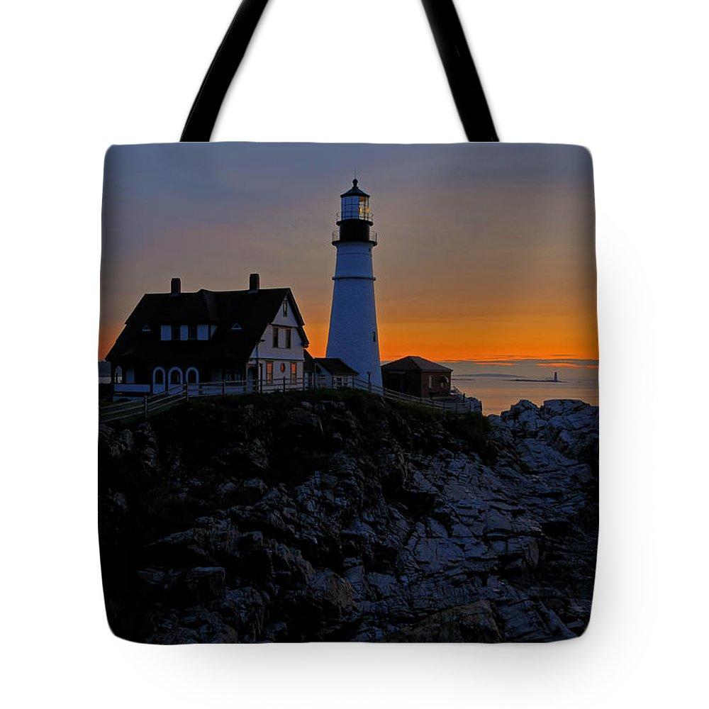 Cape Elizabeth Tote Bag featuring the photograph Portland Head Lighthouse Sunrise 2 by Liz Mackney
