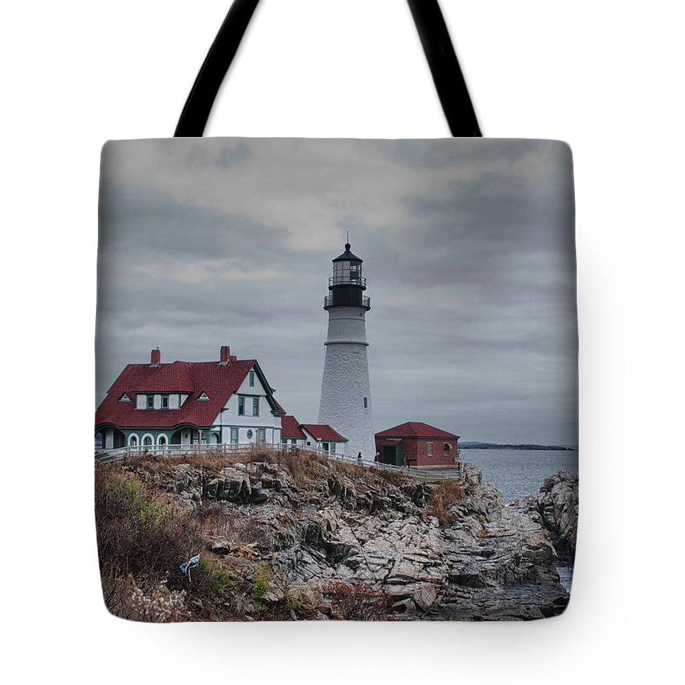 Lighthouse Tote Bag featuring the photograph Portland Headlight 14456 by Guy Whiteley