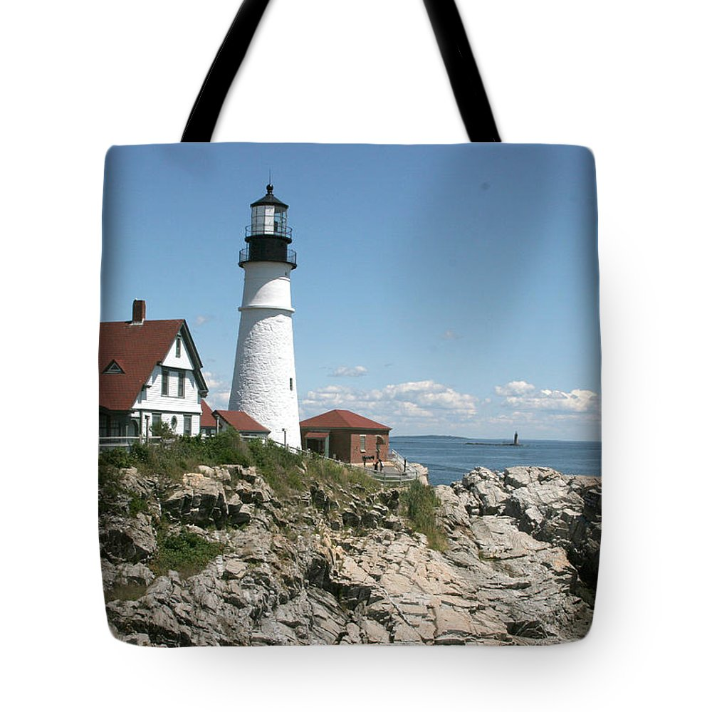 Lighthouse Tote Bag featuring the photograph Portland Headlight Lighthouse 1 by Kathy Hutchins