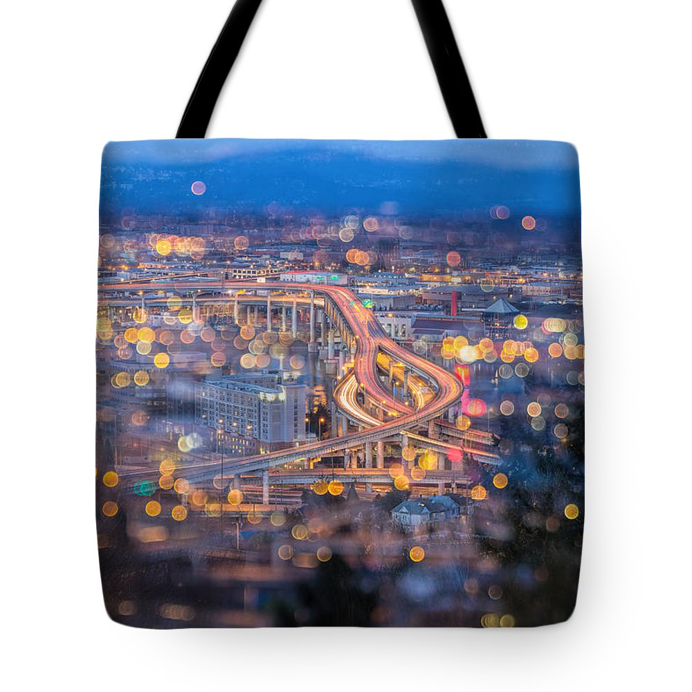 Portland Tote Bag featuring the photograph Portland Marquam Freeway With Bokeh Lights by Jit Lim