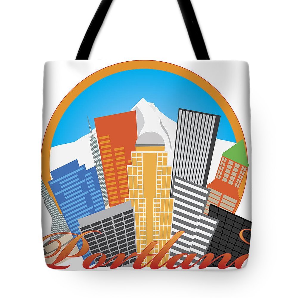 Portland Tote Bag featuring the photograph Portland Oregon Abstract Skyline Mt Hood Illustration by Jit Lim