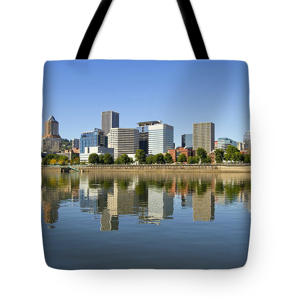 Portland Tote Bag featuring the photograph Portland Oregon Downtown Skyline Reflection 3 by David Gn