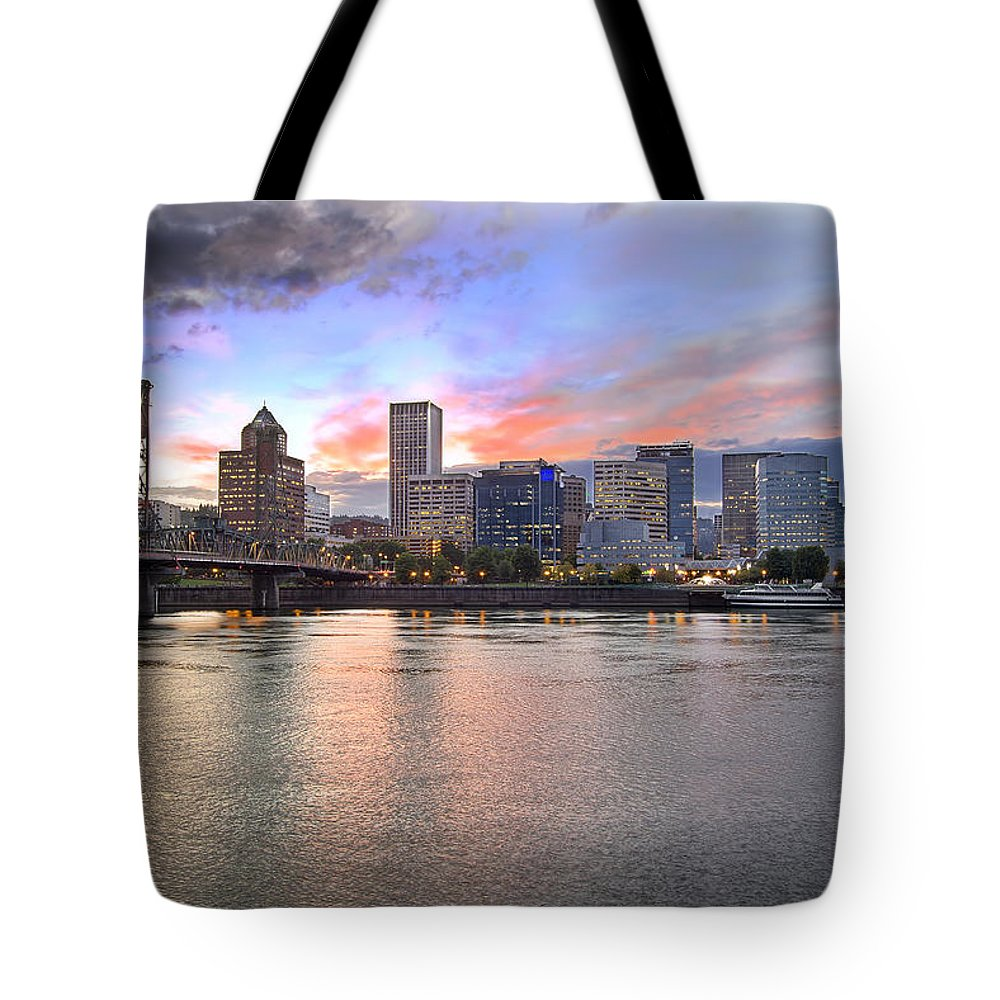 Portland Tote Bag featuring the photograph Portland Oregon Skyline At Sunset by Jit Lim
