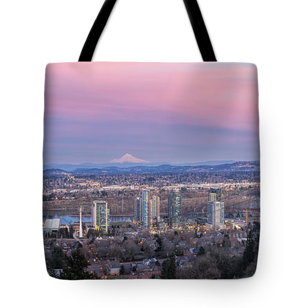 Portland Tote Bag featuring the photograph Portland South Waterfront At Sunset Panorama by Jit Lim
