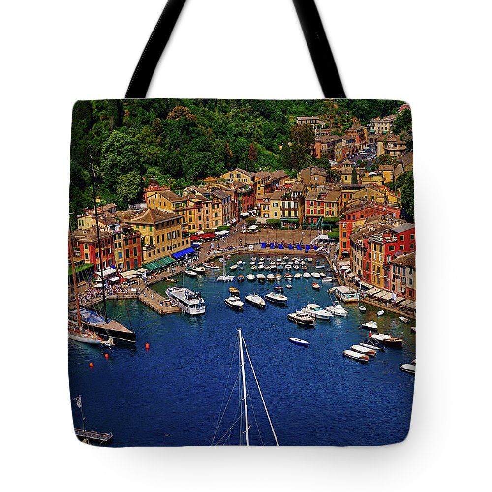 Treetop Tote Bag featuring the photograph Portofino by Roman Makhmutov