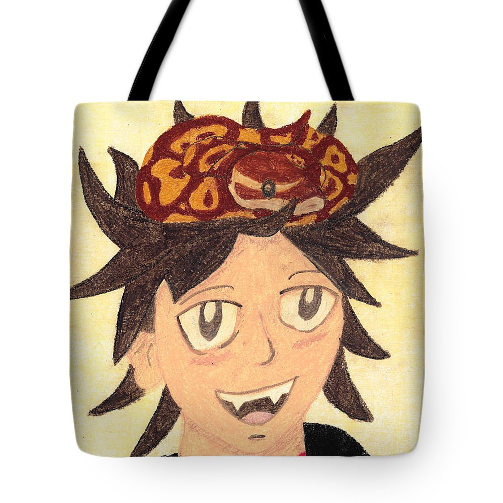 Boy Tote Bag featuring the pastel Portrait Of A Boy With A Ball Python On His Head by Jessica Foster