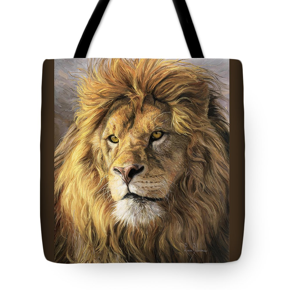 Lion Tote Bag featuring the painting Portrait Of A Lion by Lucie Bilodeau