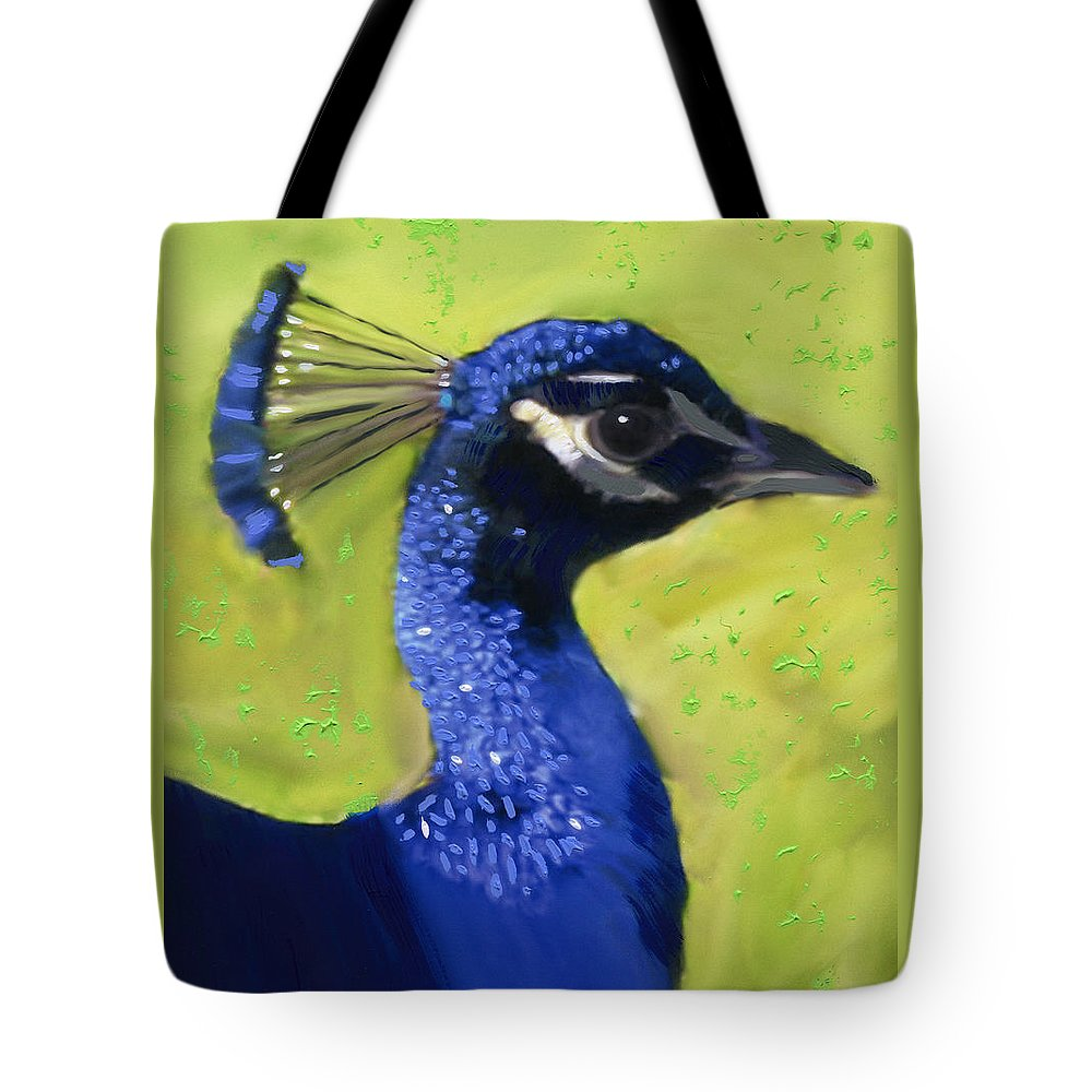 Peacock Tote Bag featuring the painting Portrait Of A Peacock by Deborah Boyd