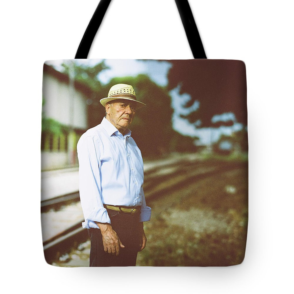 Three Quarter Length Tote Bag featuring the photograph Portrait Of A Senior Man by Thanasis Zovoilis