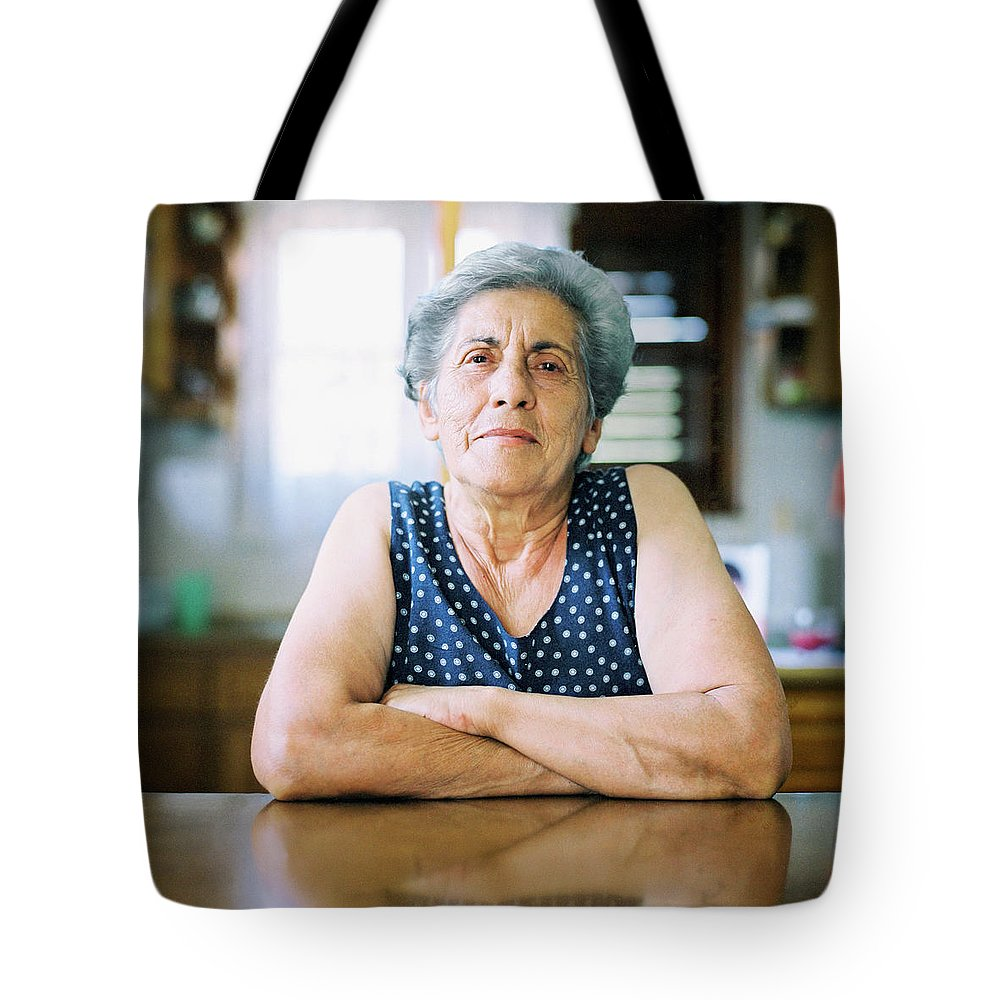 People Tote Bag featuring the photograph Portrait Of A Senior Woman by Thanasis Zovoilis