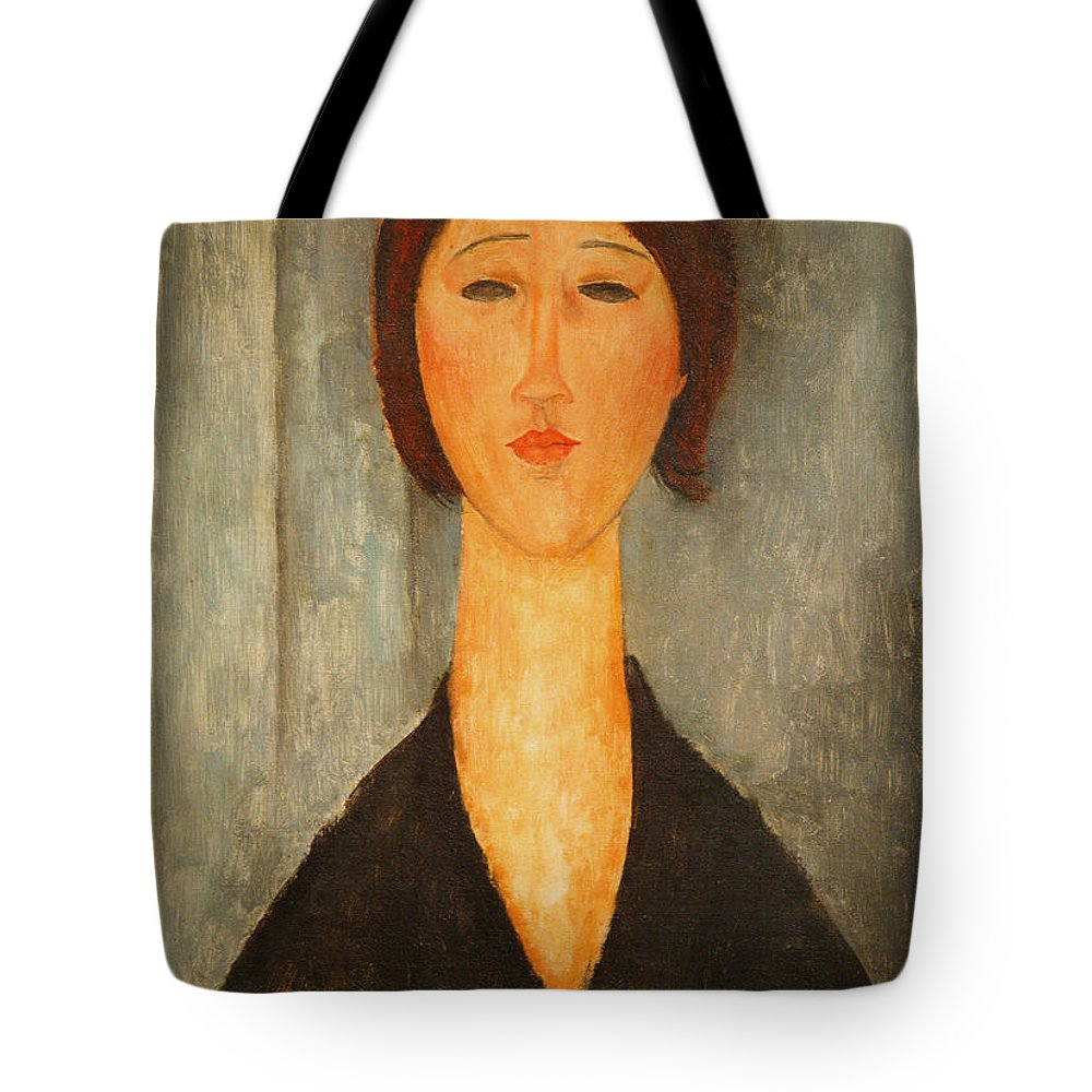 Amedeo Modigliani Tote Bag featuring the painting Portrait Of A Young Woman by Celestial Images
