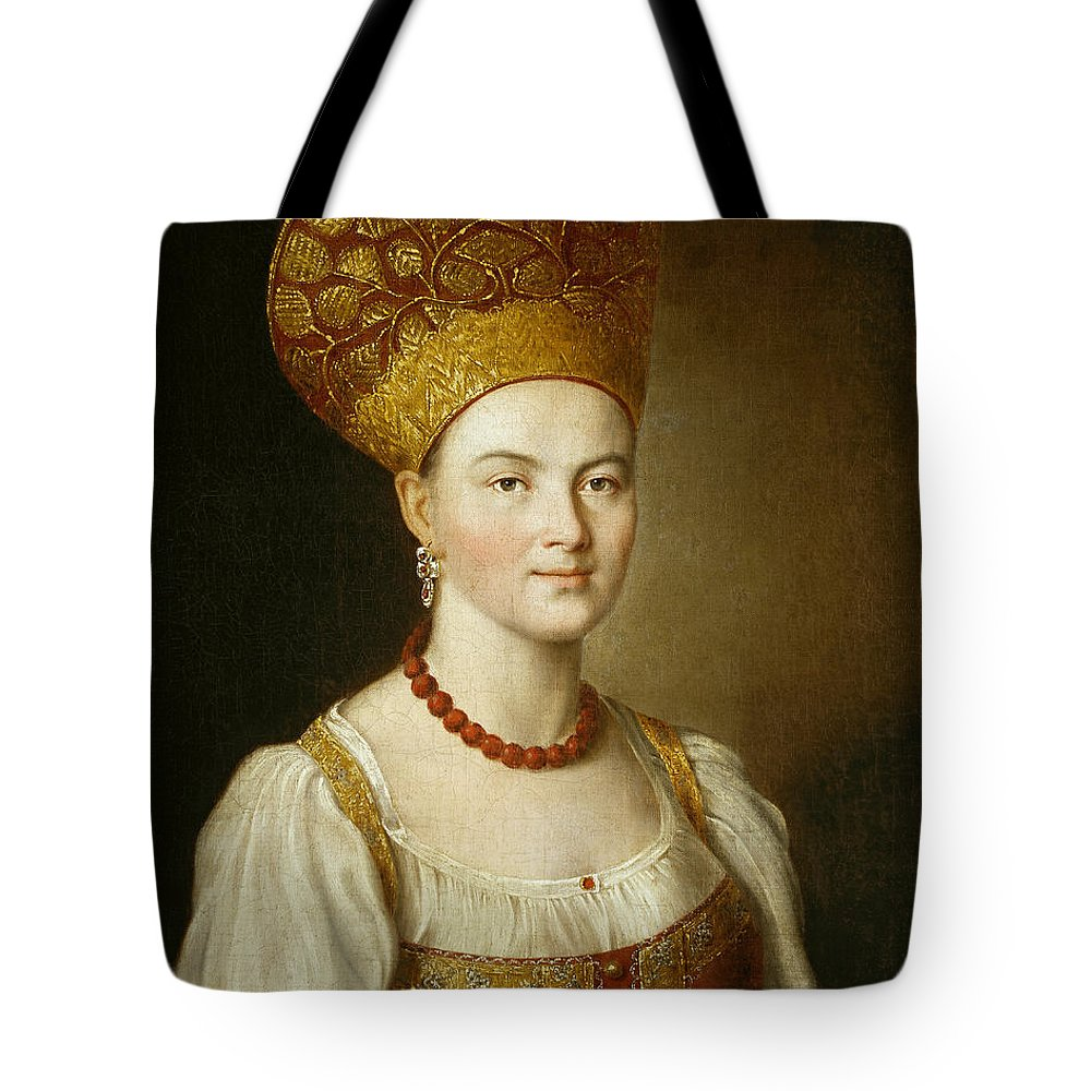 Ivan Argunov Tote Bag featuring the painting Portrait Of An Unknown Woman In Russian Costume by Ivan Argunov