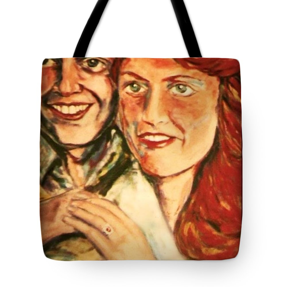 Portrait Paintings Tote Bag featuring the painting Portrait Of Andrew And Sarah by Joan-Violet Stretch
