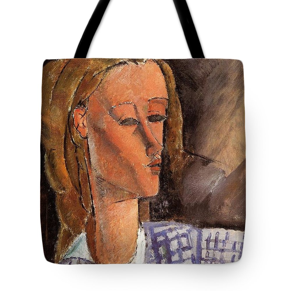 Amedeo Modigliani Tote Bag featuring the painting Portrait Of Beatrice Hastings by Celestial Images