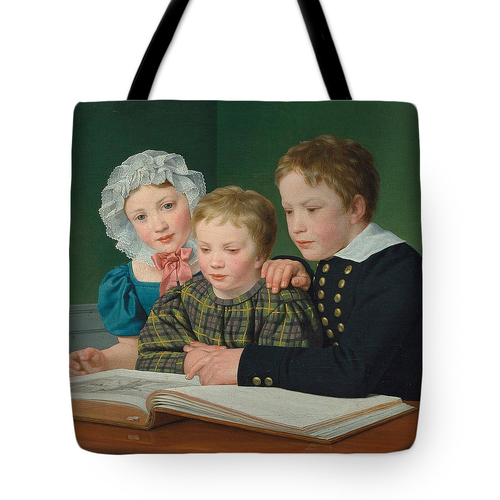 Christoffer Wilhelm Eckersberg Tote Bag featuring the painting Portrait Of C F Holms Children by Christoffer Wilhelm Eckersberg
