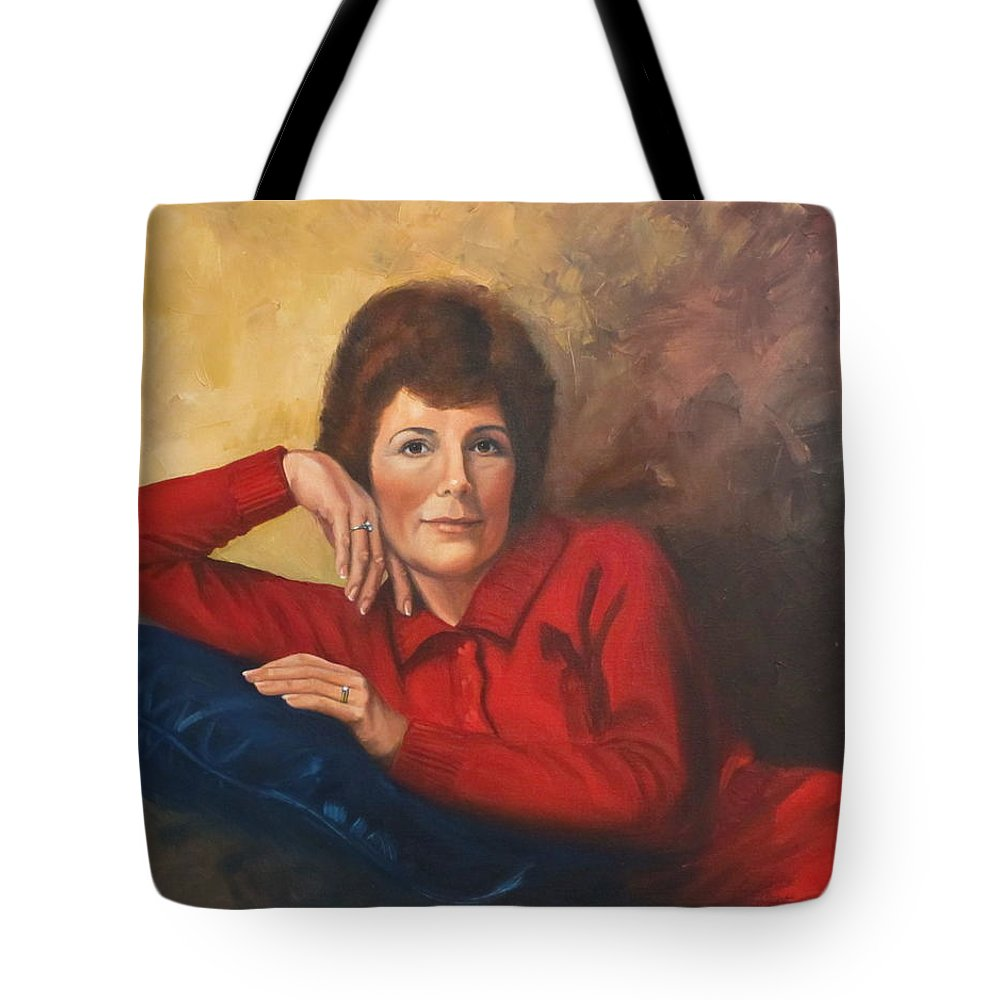 Woman Tote Bag featuring the painting Portrait Of Donna by Sherri Anderson
