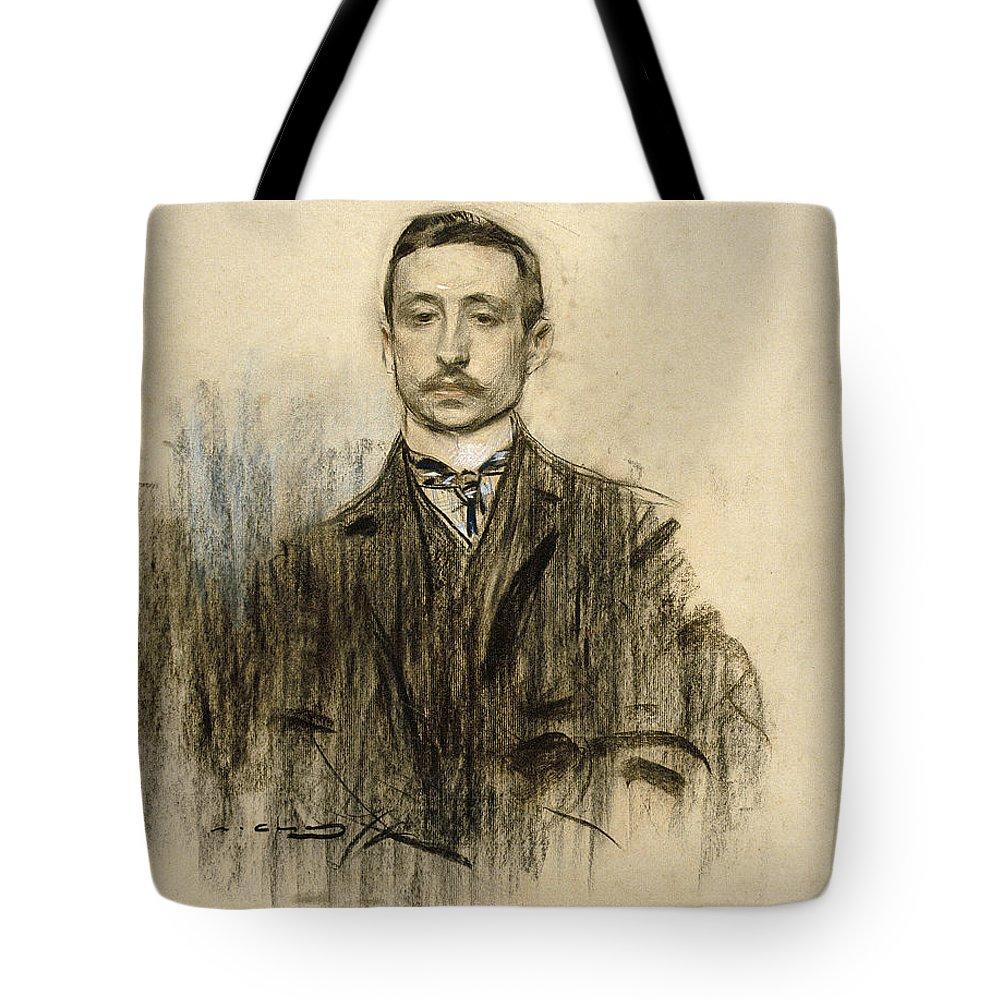 Ramon Casas Tote Bag featuring the drawing Portrait Of Eduardo Chicharro by Ramon Casas