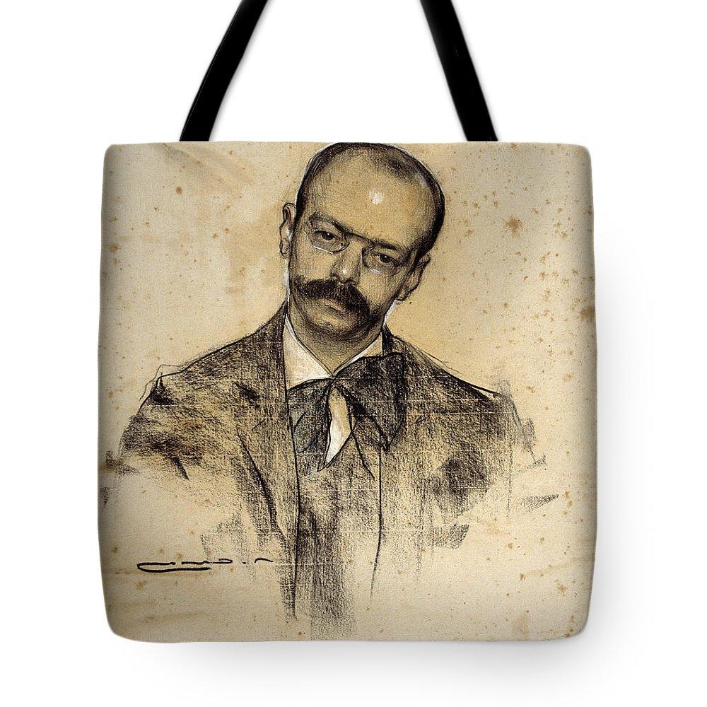 Ramon Casas Tote Bag featuring the drawing Portrait Of Gabriel Alomar by Ramon Casas