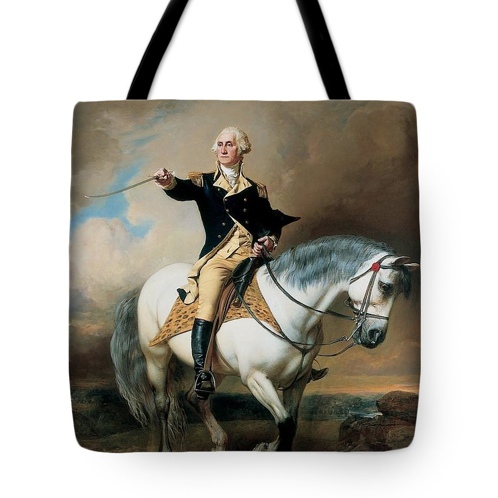 Portrait; War; Full Length; Equestrian; Salute; Saluting; Trenton; History; Historical; Heroic; Horse; Mounted; Horseback; Riding; Commander; Independence; President; Politician; Statesman; Us; Usa; United States; America; American; Leader; George Washington; Landscape; Sword; Uniform; Uniformed; Dramatic; Leadership; Strength; Power; 18th Tote Bag featuring the painting Portrait Of George Washington Taking The Salute At Trenton by John Faed