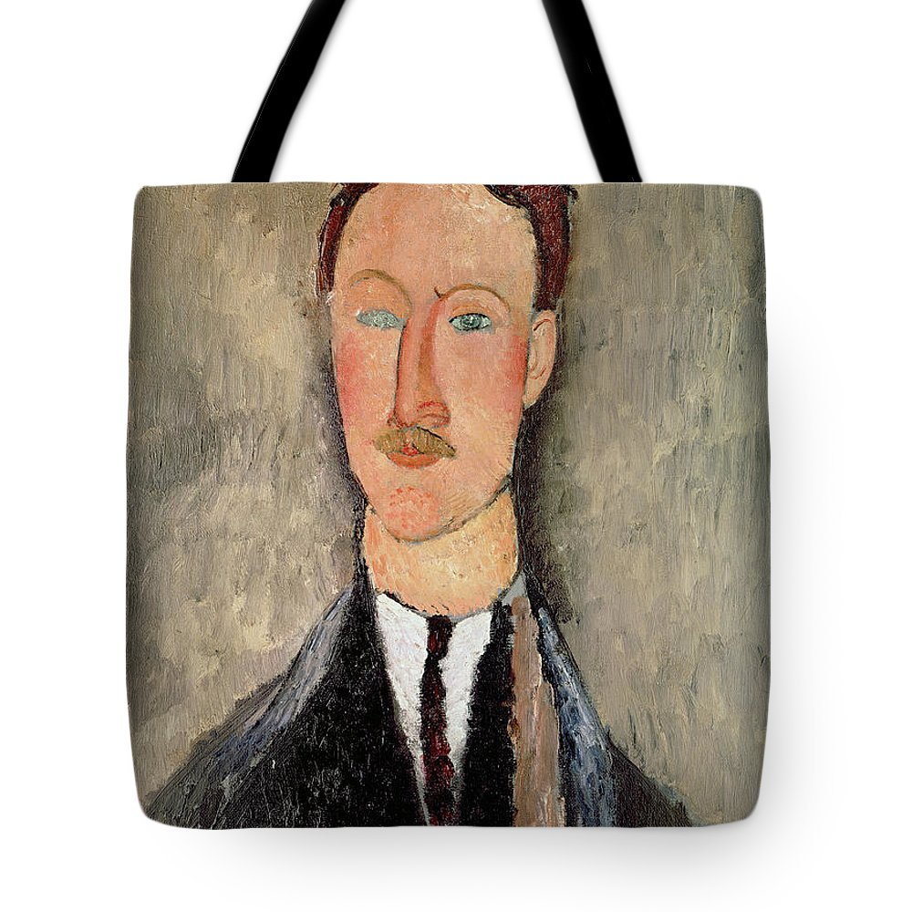 Amedeo Modigliani Tote Bag featuring the painting Portrait Of Leopold Survage by Celestial Images