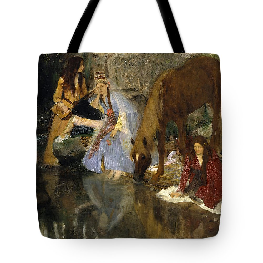 Portrait Of Mlle Fiocre In The Ballet La Source Tote Bag featuring the painting Portrait Of Mlle Fiocre In The Ballet La Source by Edgar Degas