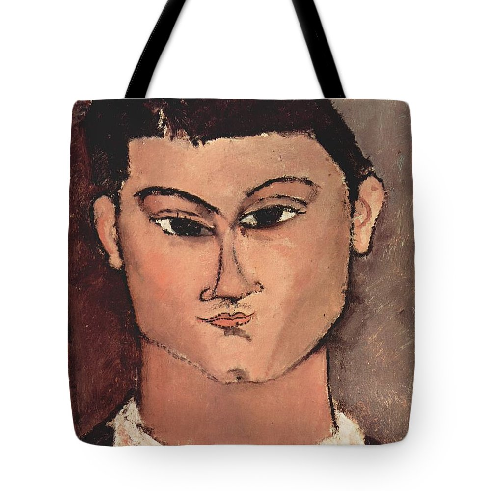 Amedeo Modigliani Tote Bag featuring the painting Portrait Of Moise Kisling by Celestial Images
