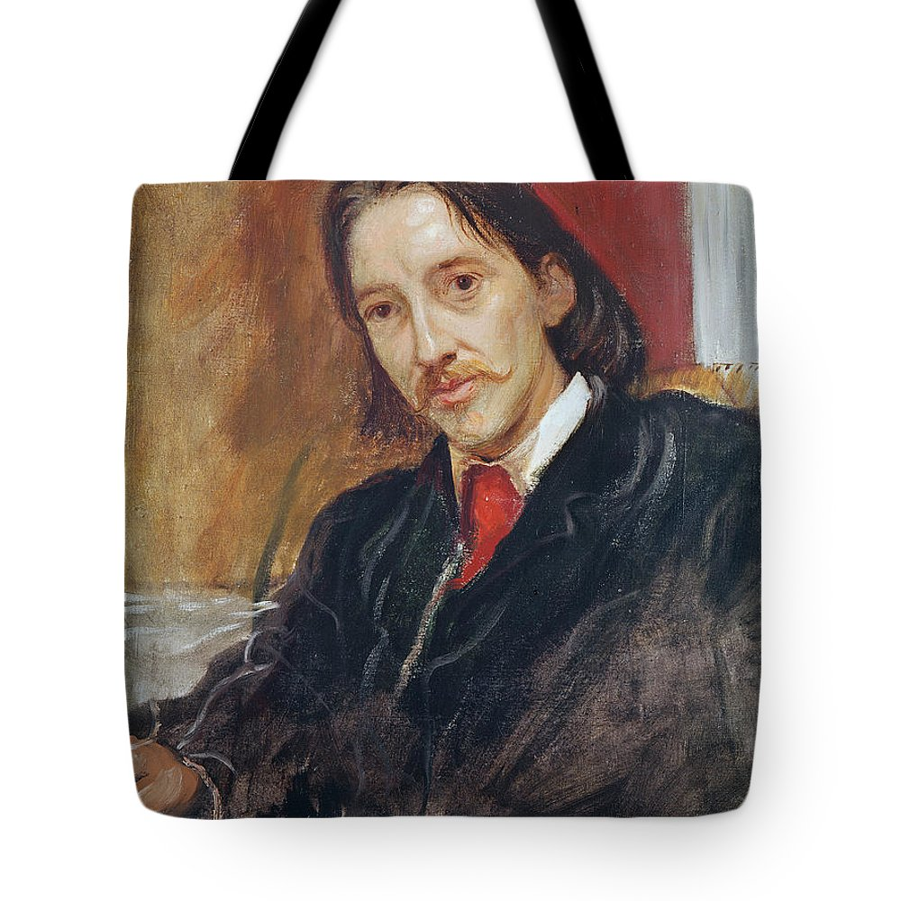 Male Tote Bag featuring the photograph Portrait Of Robert Louis Stevenson 1850-1894 1886 Oil On Canvas by Sir William Blake Richmond