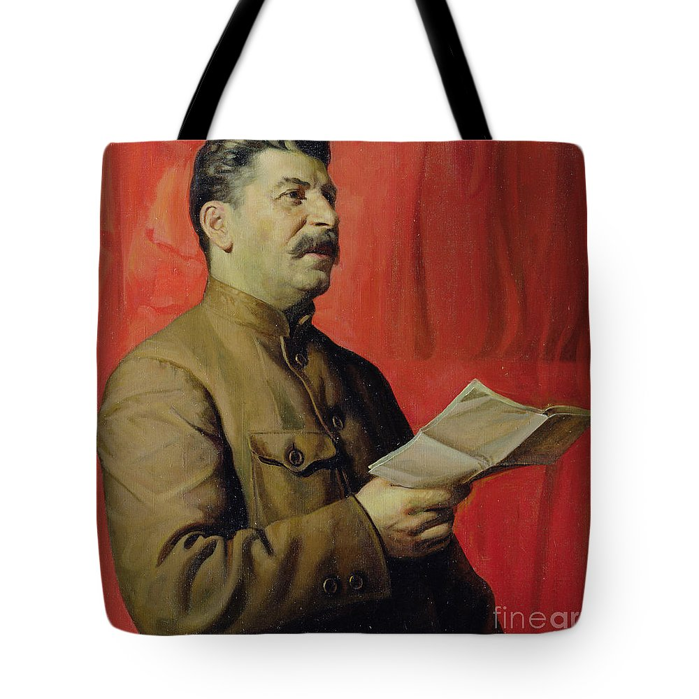 Portrait; Joseph; Male; Dictator; Socialist; Communist; Communism; Moustache; Speaking; Orator; Oratory; Reading; Red; Statement; Despot Tote Bag featuring the painting Portrait Of Stalin by Isaak Israilevich Brodsky
