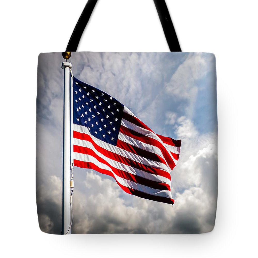 Usa Tote Bag featuring the photograph Portrait Of The United States Of America Flag by Bob Orsillo