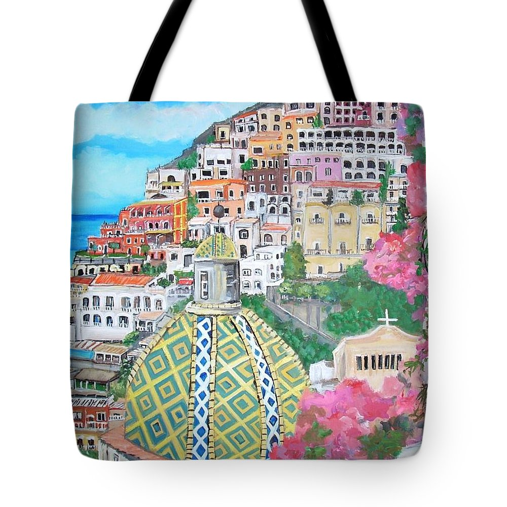 Positano Tote Bag featuring the painting Positano by Teresa Dominici