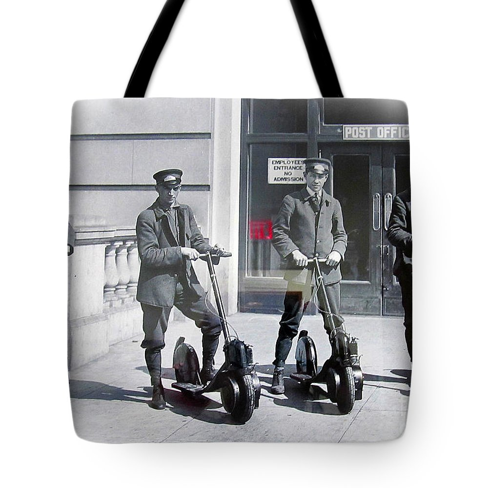 Post Office Tote Bag featuring the photograph Postal Workers On Scooters by Tina M Wenger